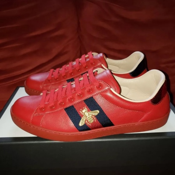 9fdd55d6f Gucci Shoes | Ace Embroidered Sneakers Red | Poshmark